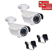 2x Outdoor Security Camera 700tvl 42 Ir Leds With Sony Effio Color Ccd Power Cmm