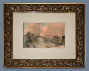 Stadt Fürth, Germany And Original Ca 1877 Watercolor Painting Signed Dated