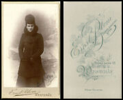 Ca 1903 Cdv Photo Portrait Of Young Woman Coat Muff And Westeras Norway Studio