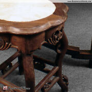 Antique Marble Top Stool Seat Cherry Blossom Carvings Handmade In Solid Hardwood