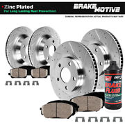 Front+rear Drilled Brake Rotors Ceramic Pads For Lexus Es350 Toyota Camry Avalon