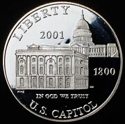 2001 Proof Capitol Visitor Center Commemorative Silver Dollar Coin And Capsule S1