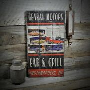 Custom General Motors Bar And Grill Sign - Rustic Hand Made Wooden Sign