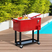 Outdoor Patio 80quart Party Portable Rolling Cooler Cart Ice Beer Beverage Chest