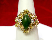 14k Yellow Gold Jm Natural Green Jade Golden Nugget Ring With Accents Size 6.5