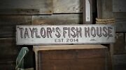 Custom Fish House Est. Date Sign - Rustic Hand Made Vintage Wooden