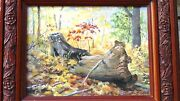 Oil On Canvas Painting By Lyn Minah Depicting A Forest Scene W/ 2 Stumps In Fall
