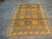 Antique Caucasian Russian Kuba Zeikhour Rug Hand Knotted Wool/wool 4and0391x6and039 Yellow