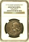 Swiss 1921 Silver Shooting Medal Field Championship Ngc Ms63 Mintage-250 R-1973a