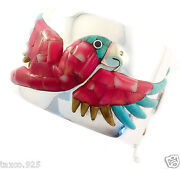 Taxco Mexican 950 Sterling Silver Coral Parrot Bracelet Mexico