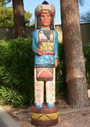 6and039 Cigar Store Indian W Buffalo Kiva Design 6 Ft Blue Shirt By Frank Gallagher