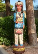 5and039 Cigar Store Indian Chief 5 Ft Sculpture Kiva Design Blue Shirt F Gallagher