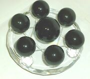 Black Obsidian Set Of David Star With A Clear Glass Side Faceted Plate