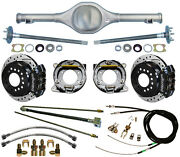 Currie 64-66 Mustang Rear End And Wilwood Drilled Disc Brakes,black Calipers,lines