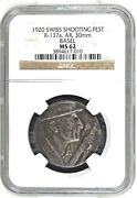 Very Rare Swiss 1920 Silver Shooting Medal Basel R-137a Ngc Ms62 Mintage-70