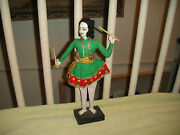 Superb India Fabric Doll-woman W/moustache And Sticks In Hand-wood Base-hard Face