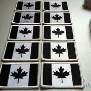 10 Canada Flag Patch With Velcroandreg Brand Fastener Canadian Military Black And White