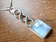 Blue Rainbow Moonstone Pendant 925 Sterling Silver With Gorgeous Iridescence
