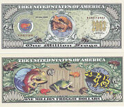 100 Frogs Froggie Tropical Ribbit Million Dollars Novelty Currency Bill 156