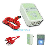10x 4 Usb Port Wall Adapter+6ft Cable Power Charger Red Galaxy S4 S3 S2 Note 2
