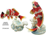 Koi On Wave Stand Jeweled Trinket Box With Crystals, By Rucinni