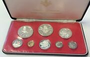Cayman Islands 1975 Set 8 Proof Coins 4 Silver Minted In Canada Box Coa