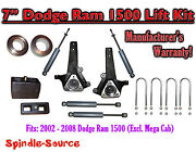 2002 - 2008 Dodge Ram 1500 2wd 7 Front 4 Rear Spindle Lift Kit With Shocks