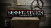 Custom Train Station City State Sign Rustic Hand Made Distressed Wood