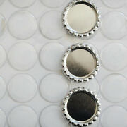 Combo 100 Silver Flattened Flat Bottle Caps Linerless And 100 Adhesive Stickers