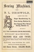 Vintage 1800s Ad Reproduction B.l. Griswold Sewing Machines Salem Ma