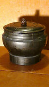 Antique Chinese Qing Rare Wood Black Lacquered Ginger Jar W/ Lidand Foo-dog Finial