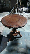 Unique Antique Mahogany Wood Middle East Round Table W/brassandcopper Inlay