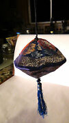 Antique Chinese Fine Embroidered Silk Hand Pouch Purse With Tessel