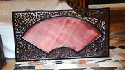 Antique 19c Chinese Wood Carved Pierced Plaquepainting Frame Fan Shape 57x 31