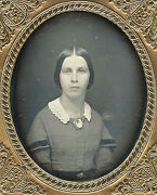 1/6 Plate Daguerreotype Photo Portrait Of A Pretty Young Woman With Pendent