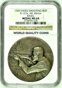 Swiss 1900 Silver Medal Shooting Festival Basel Shooter R-127a M-78 Ngc Ms64