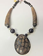 Vtg African Haute Couture Runway Carved Buffalo Horn Pendant Incredible Necklace