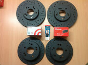 Civic Type R Ep3 Front Rear Grooved Mtec Black Brake Discs And Brembo Pads And Lube