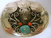 Vintage Western Silver Belt Buckle Buffalo Head Coin Turquoise Signed