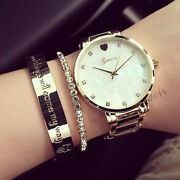 Clean Geneva Quartz Watches Mother Of Pearl Dial Golden Band For Girl Lady Women