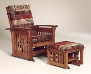 Amish Mission Arts And Crafts Glider Chair Ottoman Stool Bow Arm Slat Solid Wood