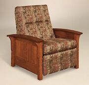Amish Mission Arts And Crafts Recliner Chair Skyline Panel Solid Wood Upholstery