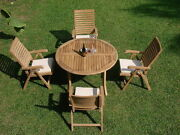5-piece Outdoor Teak Dining Set 48 Round Table 4 Reclining Arm Chairs Ash