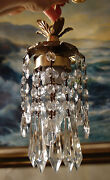 Lot_of 3 Hanging Mini Swag Lamp Chandelier Crystal Glass Prism Swags Brass Tole