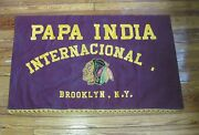Papa India International Brooklyn Ny - 3and039 X 5and039 Vintage Flag Banner Indian Patch