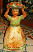Antique Cast Iron Doorstop Woman Carrying Basket Fruit On Head Old Bookend