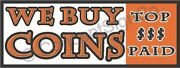 1.5'x4' We Buy Coins Banner Sign Top Dollar Paid Rare Jewelry Silver Gold Cash