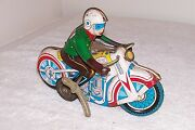 Vintage Tin Toy Motorcycle Rider China Ms-702 602 Old Wind Up Friction Motor Man