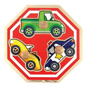 Melissa And And Doug Stop Sign Vehicles Jumbo Knob Tray Puzzle Easy Grasp 1+yrs Bn