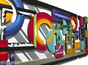 Huge 7x3 Geometric Abstract Wood Wall Sculpture W/ Metal Colorful Wall Art